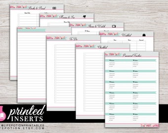 A5 Printed Planner Inserts - To Do - Notes - Password Tracker - Lists - Filofax A5 - Kikki K Large - Design: Flirty Girl