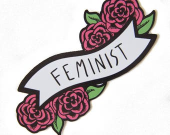 Feminist Vinyl Sticker for Car Bumper, Laptop - Cute Pink Banner with Roses Decal and Feminism Quote