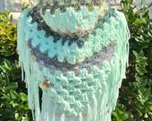 Ready to Ship!! Handkerchief Scarf with Fringe, Triangle Scarf, Granny Square Scarf