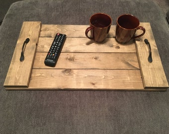 Rustic Serving Tray Pallet Design Ottoman Tray With Antique Bronze Handles