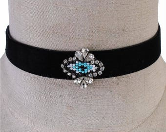 "Velvet Evil Eye Choker 14""L Adjustable"
