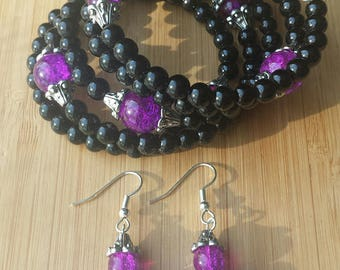 Purple and Black Glass Two Piece Set