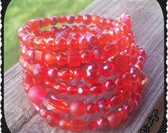 Red Glass Wrap Bracelet