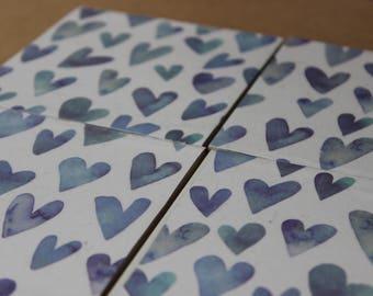 Heart Love coasters, set of 4, blue hearts