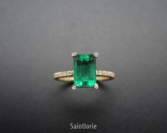 1.52 Carat Emerald Engagement Ring