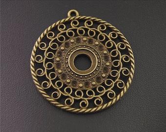 10pcs Antique Bronze Hollow Round Charms Pendant A2160
