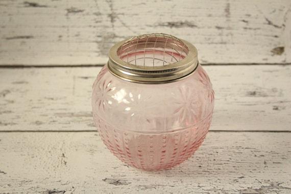 Vintage pink depression glass flower frog container hobnail