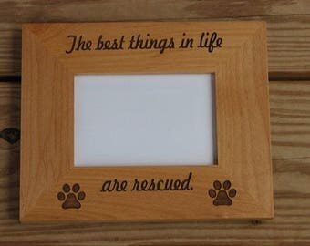 Laser Engraved Wood Picture Frame - Pet Photo Frame - Engraved Photo Frame -  Engraved Pet Lover Gift Idea - Rescued animal
