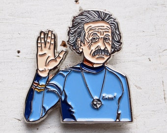 Original Einstein / Spock Vulcan Salute Star Trek Mashup Handmade Enamel Lapel Pin by Goldenflower