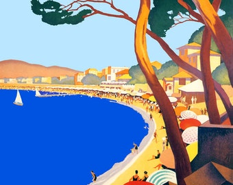 France L'Ete Sur La Cote D'Azur Plage de Juan Les Pins Sailboat French Travel Tourism Vintage Poster Repro FREE SHIPPING in USA