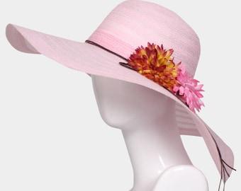 Pink Wide Brim Flower Straw Floppy Sun Hat