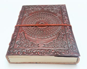 Leather Journal, Journal, Mandala Journal, Notebook, Diary, Mandala notebook, sketchbook.