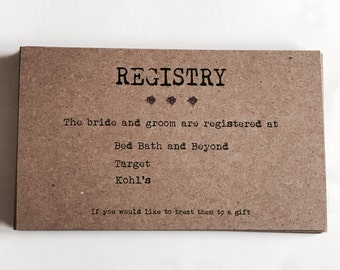 Wedding Gift List Cards : ... registry cards - gift registry - enclosure card - vintage wedding