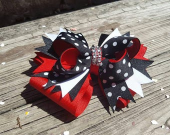 Red White and Black Hair Bow