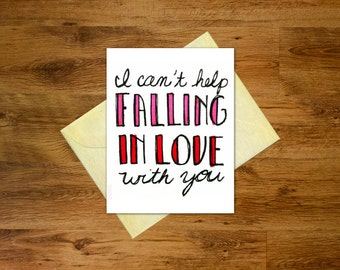 I Can't Help Falling in Love with You Card | Printable Love Card | Wedding, Anniversary, Valentine's Day Card