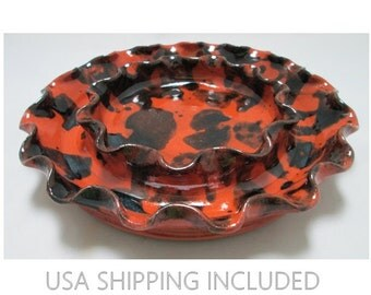 Wisconsin Pottery Redware Dish Double Walled Manganese Splotched