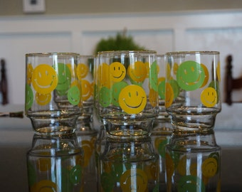 Set of 6 Vintage Smiley Face Lowball/ Juice Glasses/ Yellow and Green Smiley Face Glasses/ 1970s