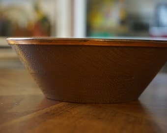 Vintage Salad Bowl/ Plastic with Copper Rim/ Hard Plastic/ 1970s Bowl