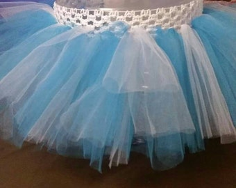 Blue and white tutu