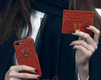 Ostrich leather iphone cover