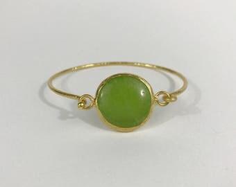 Green Agate Hammered bangle