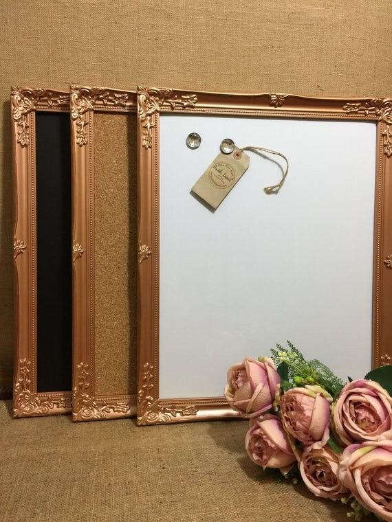 COPPER Ornate Framed Notice BOARD / Metallic Frame Message Board / Bulletin Board / Notice Board / Vision Board / Rose Gold - Gold - Silver