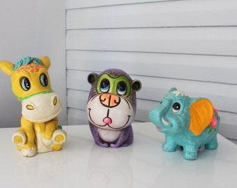 Instant Collection-Vintage Neon Animal Chalkware Bank-Monkey-Chimp-Donkey-Elephant-Ceramaster-Sunward
