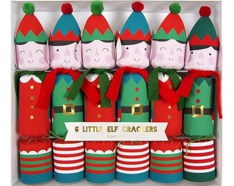 Santa's Elves Christmas crackers.  Set of 6.  Elf Holiday crackers. Christmas party favors.  Stocking stuffers.  Holiday poppers.