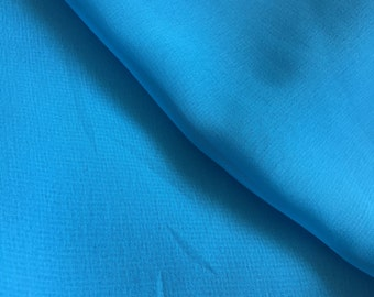 Sky blue fabric, Polyester Georgette fabric, Sheer fabric, Vintage Fabric, Poly Georgette, bythe yard, 42 inches width, sewing supply