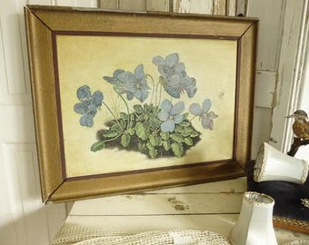 Antique oil painting, oil on canvas, violets, 1900..CHARMANT!