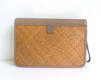 Vintage Anne Klein Snap Top Clutch Bag, Wrist Strap, Straw Purse, Tan Purse, Anne Klein Purse, Straw Clutch, Summer Purse, Wrist Purse