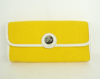 Vintage Yellow & White Clutch, Yellow Purse, Summer Purse, Party Purse, Clutch, Printed Lining, Floral Lining, Yellow Clutch, Bright Purse