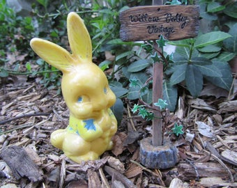 "Bunny Rattle Yellow Plastic ""Irwin"" Toy Rabbit in Blue Vest Vintage 40s Easter Shabby Chic Nursery Decor Baby Shower Animal Art Gift"
