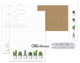 Cactus Letter Writing Set | Snailmail Penpals Stationery