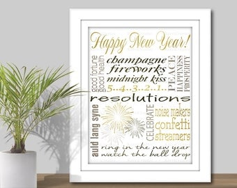 New Year's Subway Art - 3 Sizes: 5x7, 8x10 & 11x14 JPEG, Instant Digital Download, Printable, Happy New Year Printable, Holiday glitter