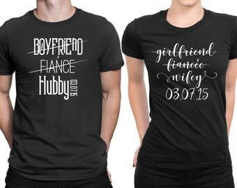 Personalized Hubby Wifey Couple Couple Matching T-shirt Set Honeymoon valentines Two T-shirt For 1 Price Customized Couple Matching T-shirt