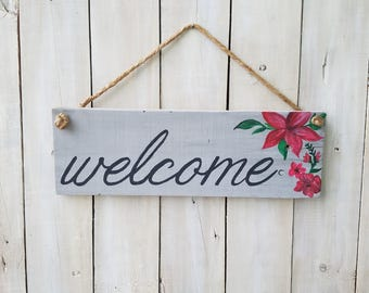 Welcome, Hand Painted Flowers, Hanging Sign, Pallet Sign, Reclaimed Wood Sign