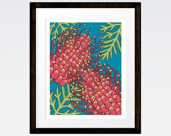 Red Grevillea Australian Native Plant Modern Print 8x10 INSTANT DOWNLOAD