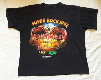 Vintage 1992 Super Rock T Shirt. Iron Maiden