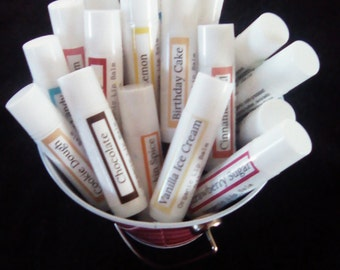 21 Flavors!! ~ All Natural Organic Lip Balm Chapstick ~ Cocoa Butter ~ Coconut Oil ~ Vitamin E ~ Soothe & Protect Your Lips Naturally!