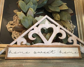 """Home Sweet Home, Handmade Wood Sign with Standard Frame - 4""""x24"""""""