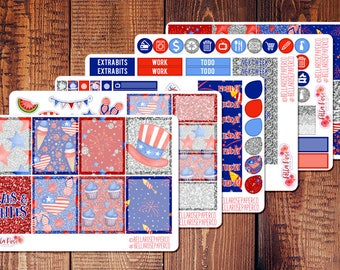 Stars and Stripes Planner Sticker Kit, 4th of July Planner Stickers, Inspired By Erin Condren Planner Stickers, Happy Planner Stickers