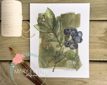 Blueberry Sprig Print of Original Watercolor and Ink
