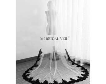 Black Veil, Cathedral Lace Veil, Lace Wedding Veil, Bridal Veil Lace from Mid Way, Custom Veil, Mi Bridal Veil