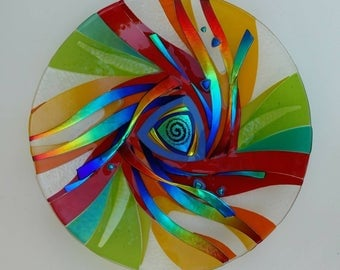 Glass platter, wall hanging as well