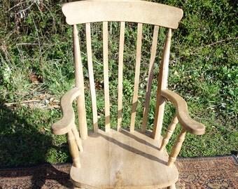 Vintage Oak Rocking Chair, Old Oak Rocking Chair, Grandad Style Fireside Arm Chair