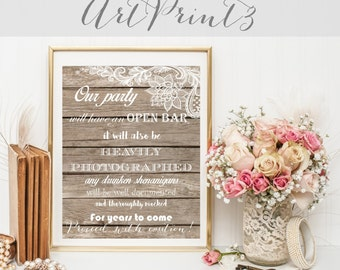 Rustic Open Bar Wedding Sign Printable, Funny Open Bar Quote Printable, Open Bar Sign Instant Download 8x10, Open Bar Sign Barn Wood Wedding