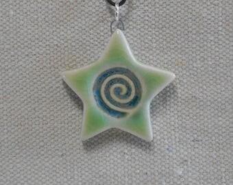 Spiral Star Pendant Lime Green and Mottled Blue