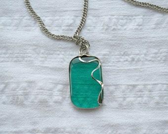 Turquoise Necklace, Handmade Murano Glass Necklace, Turquoise Tiffany Necklace