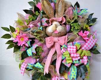 Easter Sale was 65.00 now 35.00.Easter Wreath, Spring Wreath, Rabbit Wreath, Deco Mesh Wreath, Easter, Spring, Deco Mesh, Pink